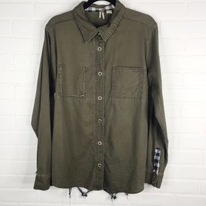 BKE Button Front Lattice Back Top Long Sleeve